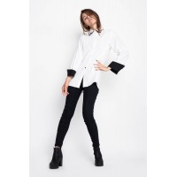 Drugonfly White Embroidered Collar Shirt