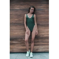 Drugonfly Olive Solid High Cut One Piece Swimsuit